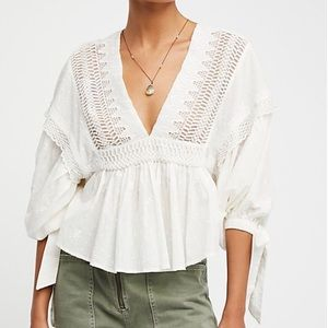 Free People Drive You Mad Blouse Ivory